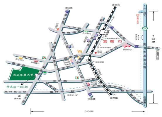 下高速公路交流道至本校路线图